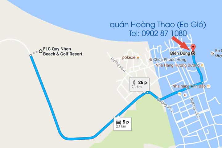 Quán hải sản Hoàng Thao tại Eo Gió